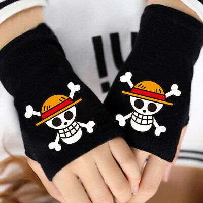 Costumes & Accessories Anime One Piece Monkey D Luffy Half Finger Cotton Knitting Wrist Gloves Mitten Lovers Anime Accessories Cosplay Gloves Fashion