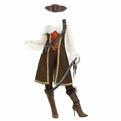 Womens Premium Pirate Costume High Seas Caribbean Wench Fancy Dress Adult Outfit