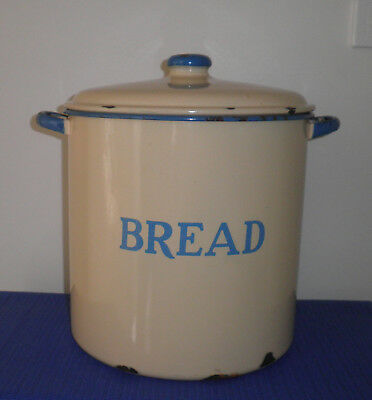 Vintage Original Large Cream & Blue Enamel Bread Tin Kitchenalia Display