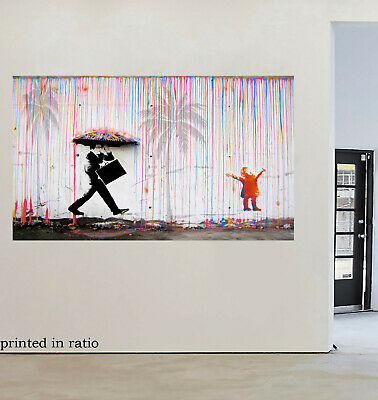 Painting Graffiti Street Art Banksy Rainbow Rain palm tree Print Canvas stencil