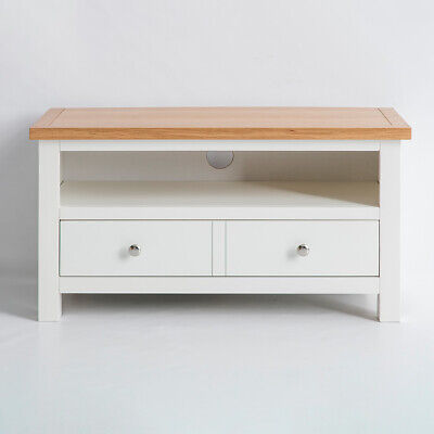 Farrow White 90cm TV Stand - Small Painted TV Unit - Media Stand
