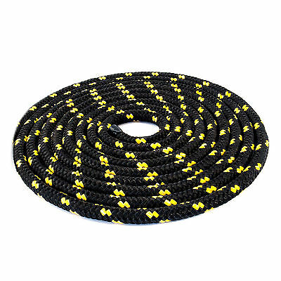 16mm Braided Polypropylene Poly Rope Cord Boat Yacht Sailing Black with spots