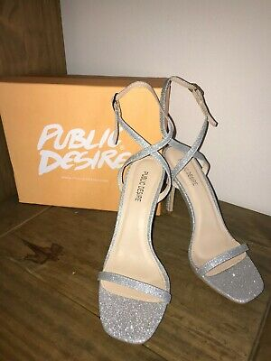 0238eef7f5 BRAND NEW Stunning Public Desire Silver Glitter Barely There Sandal Heels  Size 5