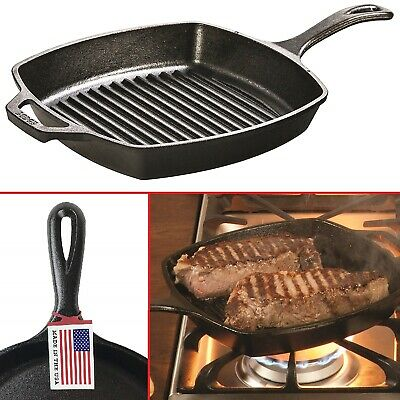 CAST IRON GRILL PAN Pre Seasoned Steak Bacon Grilling Kitchen Square Skillet 10""