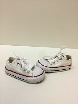 fa10a895946f Converse All Star Optic White Canvas Lace Up Low Top Shoes Infant Size 4
