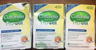 3 x Culturelle Health & Wellness Pro-Well Probiotic 30 Capsules