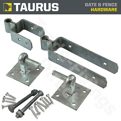 Double Strap Fieldgate Hinge Set Hook On Plate Hot Dipped Galvanised + Fixings