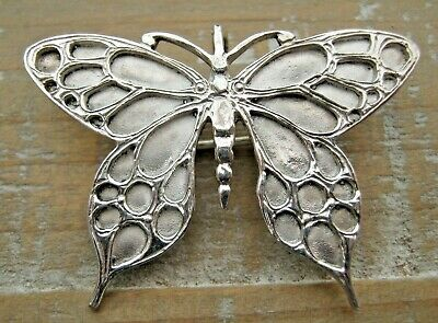 Beautiful English Hallmarked Sterling Silver Butterfly Brooch / Pendant