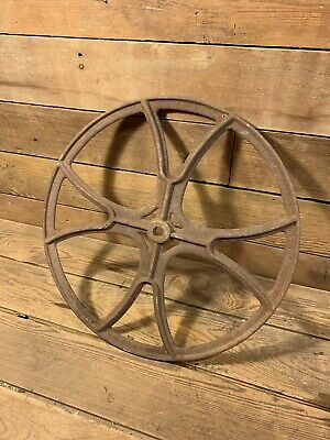 """Antique Cast Iron 19"""" Fly Wheel Steampunk Ornate Pulley Art Wall Hanger Vintage"""