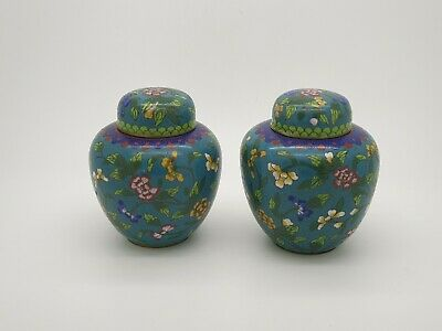 Pair of Antique Chinese Cloisonne Ginger Jars Vases