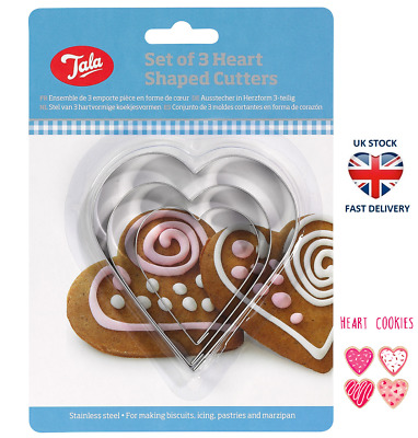 TALA HEART SHAPED COOKIE CUTTERS Set Of 3 Stainless Steel Pastry Biscuit Holiday