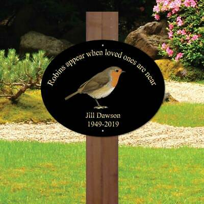 Personalised memorial oval sign, Robins appear, In Loving Memory Garden Plaque,