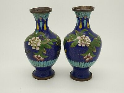 Pair of Antique Chinese Cloisonne Blue Vases  NO RESERVE