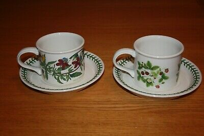 Two Portmerion Floral Coffee Cups & Saucers