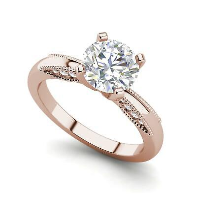 Milgrain Solitaire 3.25 Ct VS2/D Round Cut Diamond Engagement Ring Rose Gold
