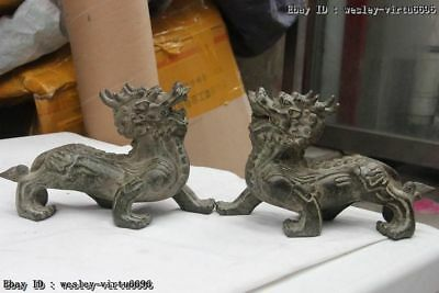 Chinese FengShui Bronze Guardian Lion Door Fu Foo Dog Dragon kylin Statue Pair