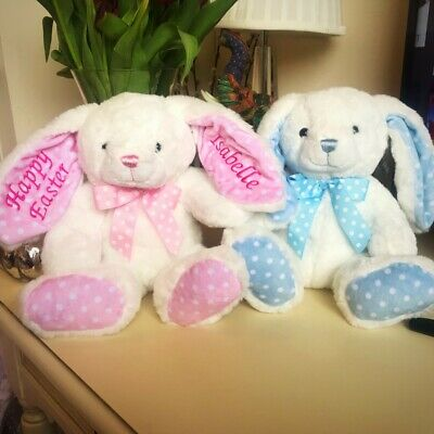 Personalised Embroidered Easter Bunny Rabbit,Teddy Bear,Soft Toy Bunny PINK BLUE