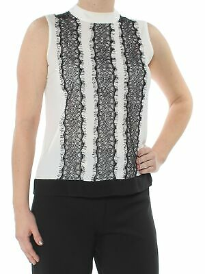 36c146684d9121 CALVIN KLEIN  44 Womens New 1403 Ivory Lace Trim Sleeveless Top L Petites  B+B