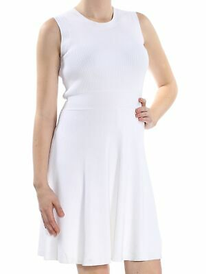 43965d94f06 MICHAEL KORS  175 Womens New 1347 Ivory Ribbed Sweater Sleeveless Dress M  B+B