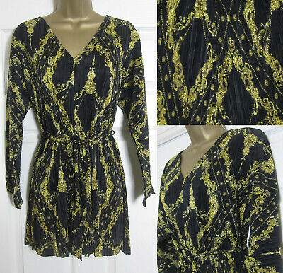 7712691f9c8 NEW £40 River Island Plisse Playsuit Black Gold Chain Print Party Evening  4-16