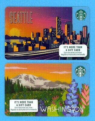 Lot (2) Starbucks gift cards $0 balance ~ 2017 SEATTLE and 2018 WASHINGTON STATE