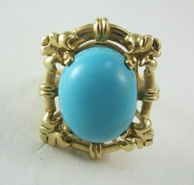 Beautiful Ladies 14K Yellow Gold Oval Cut Persian Turquoise  Ring 8.2G
