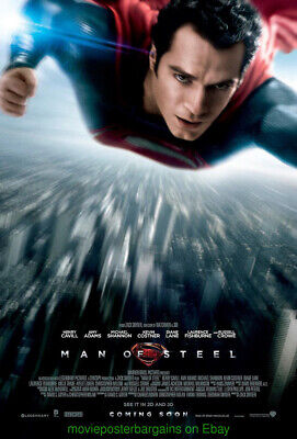 MAN OF STEEL MOVIE POSTER DS 27x40 FINAL+ SUPERMAN CHRISTOPHER REEVES TOO !!!!!