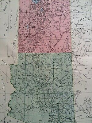Utah & Arizona Original Antique Encyclopaedia Britannica Map USA US State Map