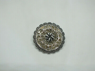 "Beautiful Brooch Pin Silver Tone Filigree Over Off White Cab 1 3/8"" CUTE"