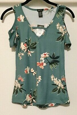 c7e44e2bff656 JUNIOR RUE 21 Polyester Blend Dark Sage Cold Shoulder Top Size XS ...