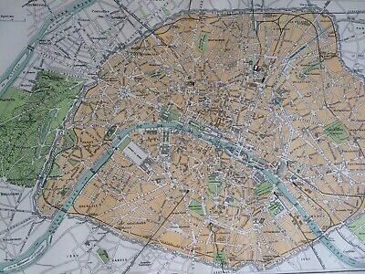 Paris Original Antique Encyclopaedia Britannica Map France City Plan Vintage Old