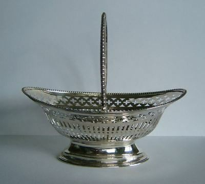 RARE ANTIQUE VICTORIAN ENGLISH STERLING SILVER BASKET, HALLMARKED LONDON c1893