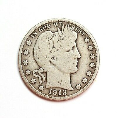 Raw 1913 Barber 50C Rim Ding Reverse Circ US 90% Silver Half Dollar Coin