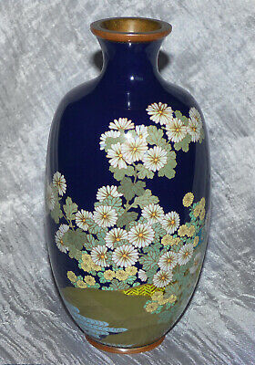 Beautiful Antique Japanese Cloisonne Vase w Mixed Enamel Styles Flowers & Water