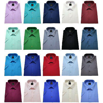 Men's Short Sleeve Shirt Plain Cotton Regular Fit Formal collar Casual BIG size