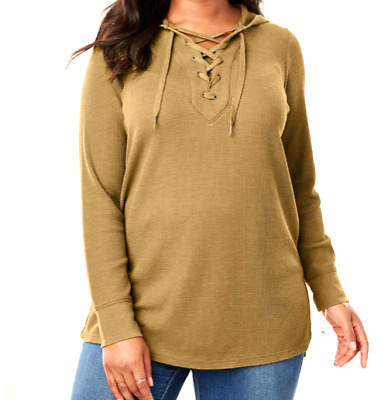 Women's 3X 4X 5X 6X Gold Thermal Knit Lace-Up Long Sleeve Hoodie Top Shirt  NEW
