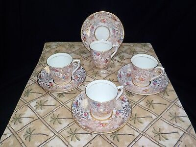 Vintage Demitasse Colclough Bone China Rose Chintz Cups & Saucers - Set of Four