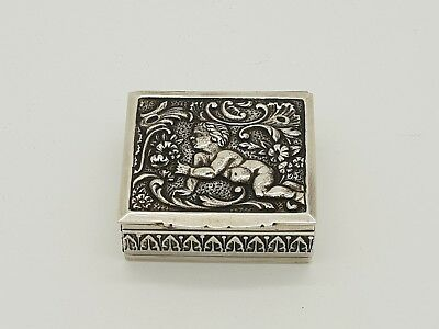 Antique French Solid Silver Snuff / Pill Box With Cherub