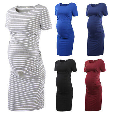 Pregnant Women's Short Sleeve Dress Maternity Gown Summer Casual Bodycon Dresses