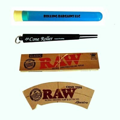 The Cone Roller (Black) with RAW King size Rolling Paper, Cone Tips, & Doob Tube