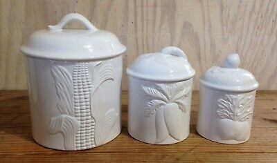 VINTAGE WHITE CERAMIC Kitchen Canisters Set of 3 Made In Taiwan
