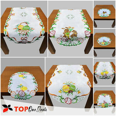 Amazing Easter Tablecloth Table Runner Placemats Square Oval Chick Egg Rabbit