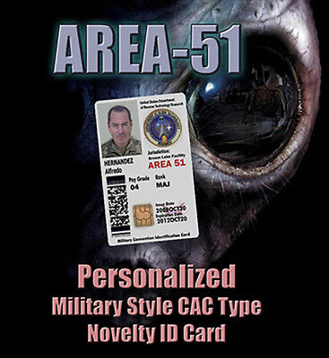 """**Personalized** """"AREA-51"""" Novelty Military STYLE ID C.A.C. (Common Access Card)"""