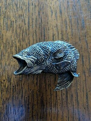 Vtg Large Mouth Bass 3-D Jumping Fish 1974 Artwork Belt Buckle