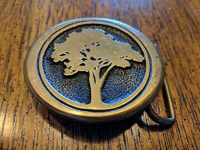 VINTAGE 1970s **TREE** SILHOUETTE MADE IN USA SOLID BRASS BTS BELT BUCKLE