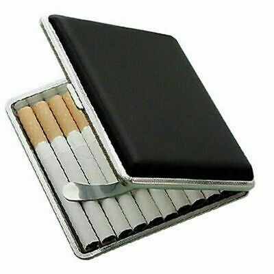Stainless Steel Cigarette Case Cigar Tobacco Pocket PU Leather Pouch Holder SH