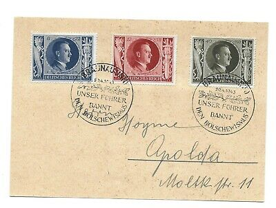 Germany Postal History Wwii Postcard Hitler Stamps Addr Special Canc Yr'1943