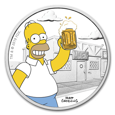 2019 Homer Simpson Proof 1 Ounce .9999 Silver Coin with Box and COA - In Stock!