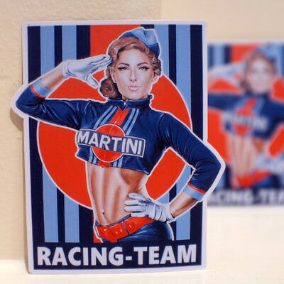 "Pin Up Martini Racing Team Girl Vintage Retro Art 3x4"" Decal Sticker #3654"