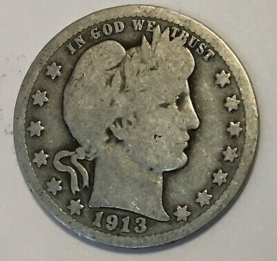 1913 P Barber Quarter - Better Date - Free Shipping !!